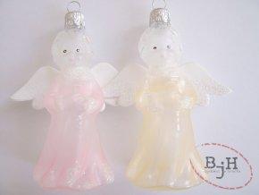 Skleněné vánoční ozdoby - 2 andílci